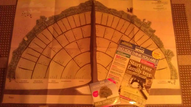 The free FindMyPast tree chart with the January 2013 edition of Who Do You Think You Are? magazine.