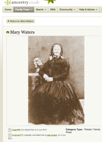 Avis Tall as Mary Waters on Ancestry.co.uk