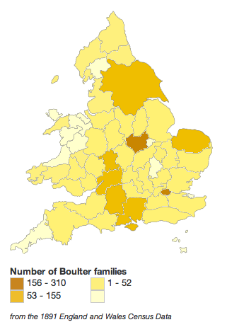 Distribution of Boulter families in England, 1891