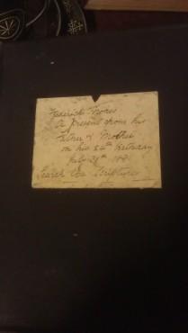 Inscription inside bible