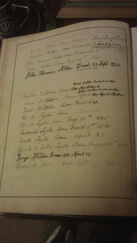 Names and dates inside family bible