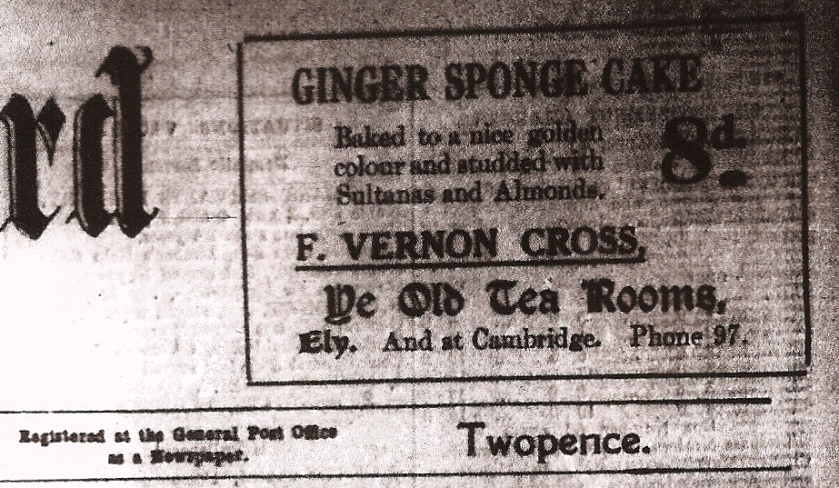 F Vernon Cross Ginger Sponge cake advert from the Ely Standard, 7th November 1930.