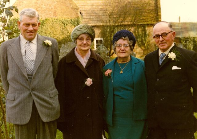 Ernest and Maude Barber, with Susan and Ernest Dewey, at the wedding of their granddaughter Glenda Ann Dewey to Stephen Leslie Martin at Witchford, 1973.