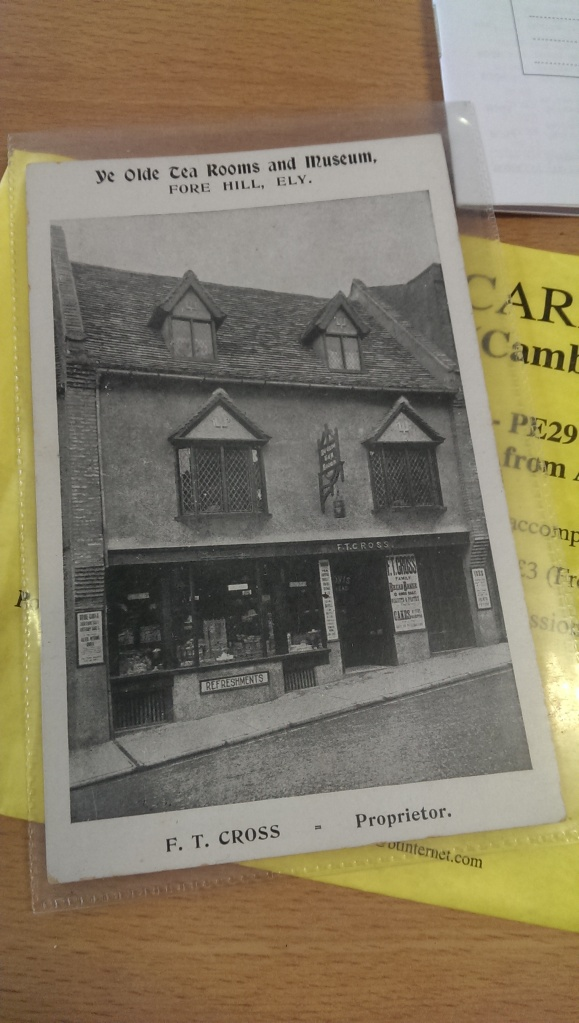A postcard advertising the Cross' bakery on Forehill, Ely