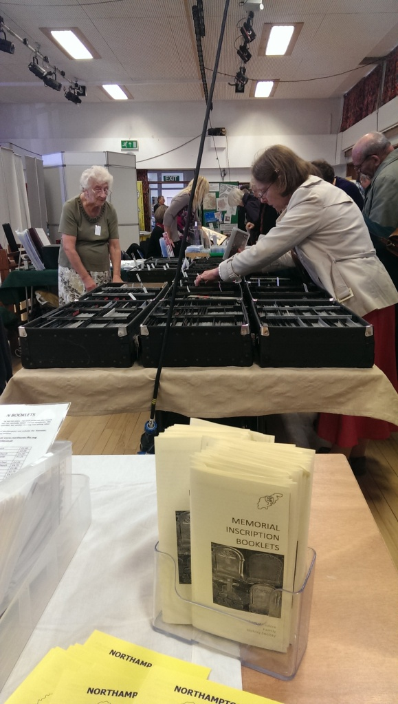A view of some of the trade stands at the Cambridgeshire Family History Society Fair, 2013
