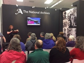 Audrey Collins at The National Archives stand at Who Do a You Think You Are? Live 2014