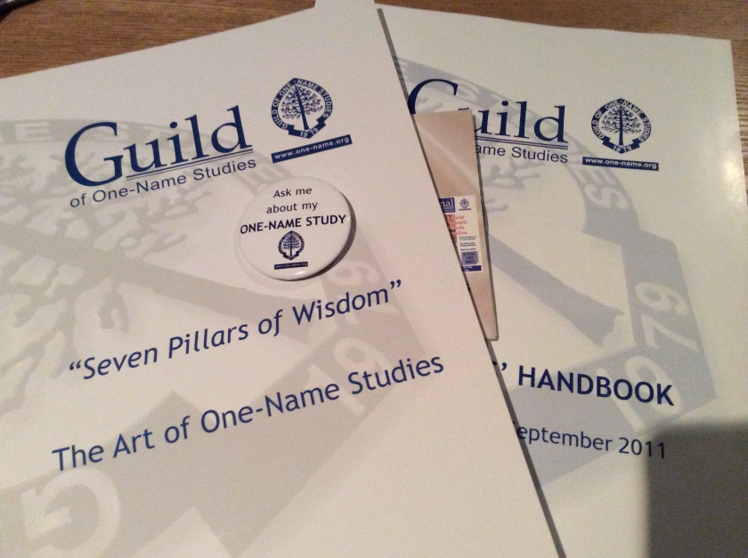 The Guild of One-Name Studies (GOONS) Surname Registrant induction pack