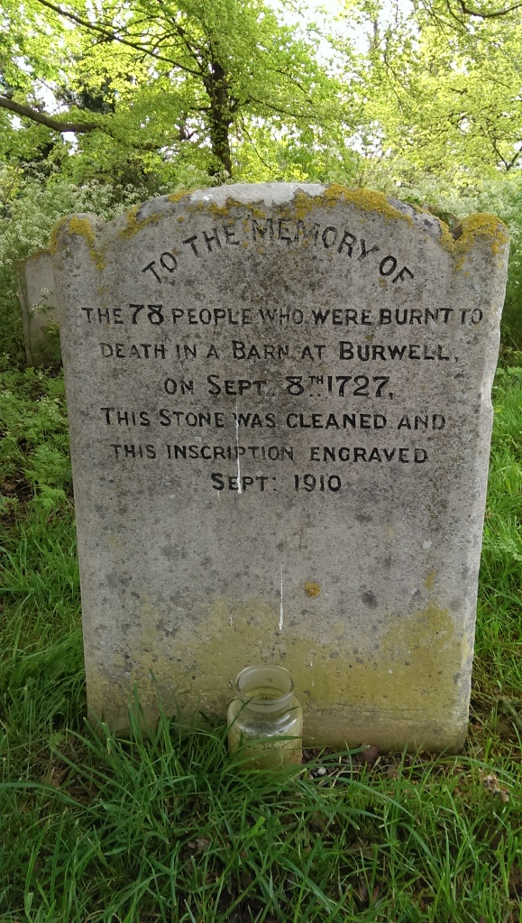 The reverse of the gravestone to the victims of the fire, in Burwell, Cambridgeshire.