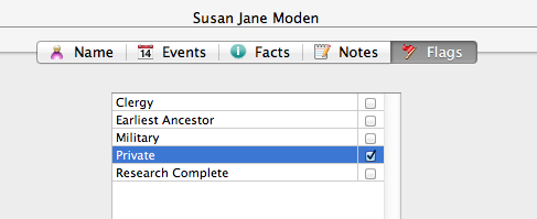 The 'Private' option in Reunion10 for Mac.