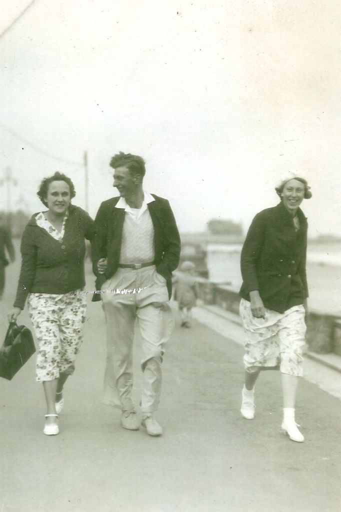 Edna and Percy, with Percy's half-sister Edith Shelton, visiting the seaside, circa 1935.