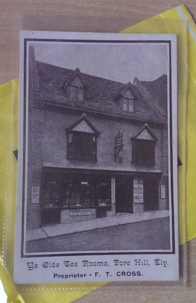 Advertising postcard for Frederick Thompson Cross' tea rooms on Forehill, Ely, prior to 1911.