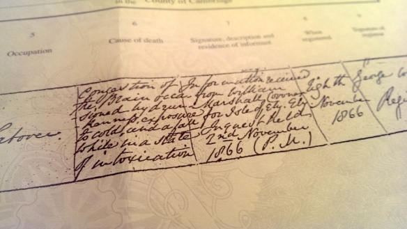 Jeremiah  Newell's death certificate, noting his cause of death.