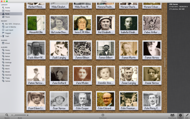 iPhoto showing Faces of ancestors I've scanned