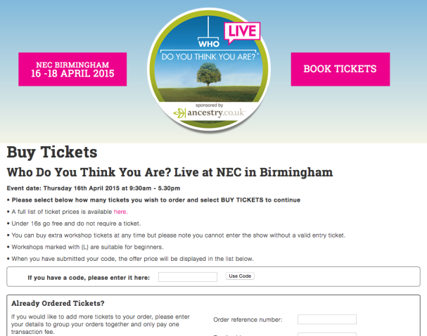 Who Do You Think You Are? Live 2015 ticket website