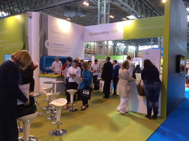 AncestryDNA stand with visitors