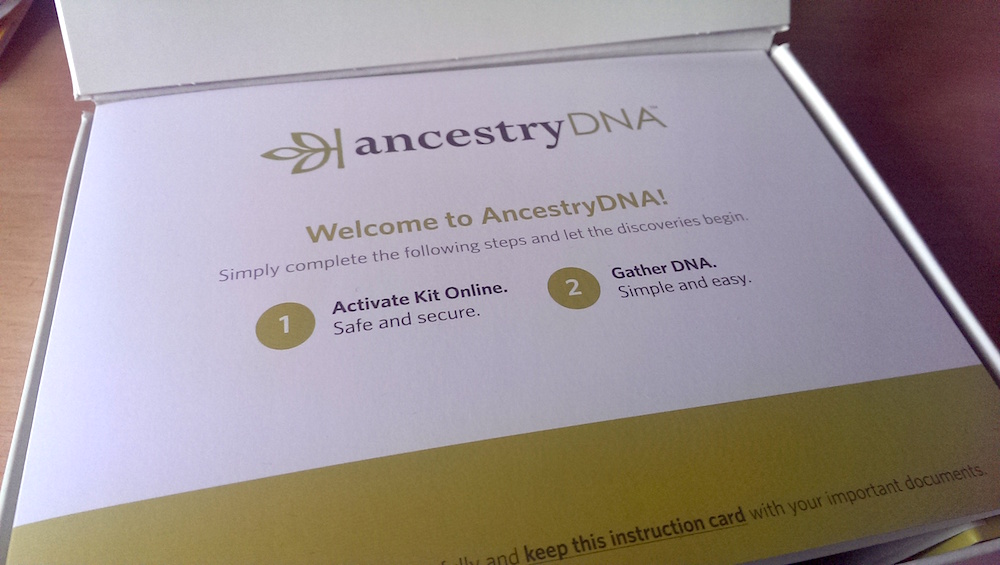 Inside an AncestryDNA test box