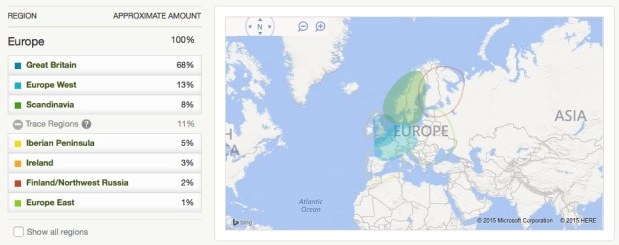 My mother's AncestryDNA ethnicity estimate