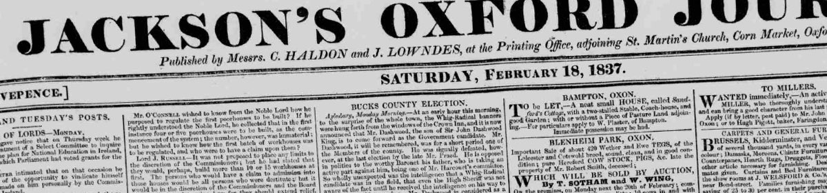 Jackson's Oxford Journal masthead, 1837.