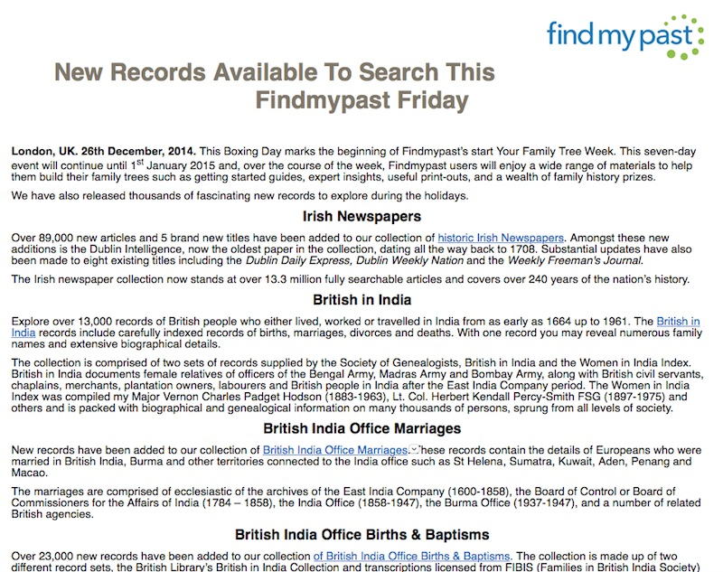 New India records available on findmypast