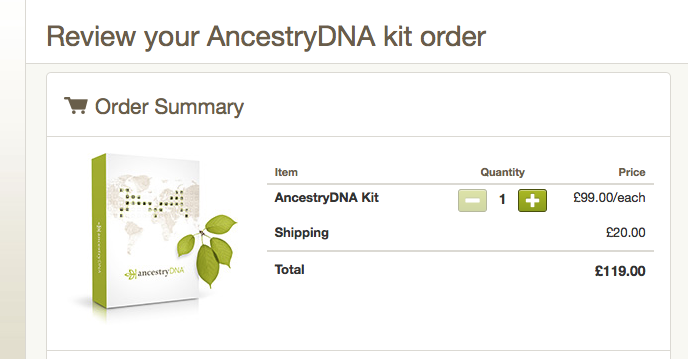 AncestryDNA postage costs
