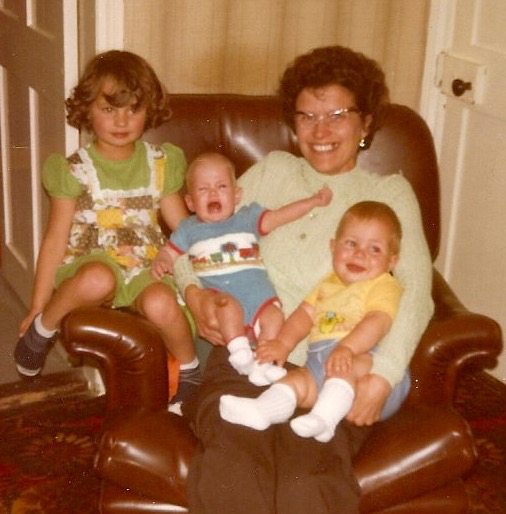 My grandmother with my sister, cousin, and me (yes, i'm the squawker at 11wks old). Photo: Andrew Martin