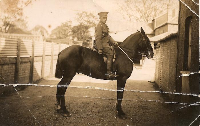 Pte Ernest Edward Thomas Dewey on horse (before)