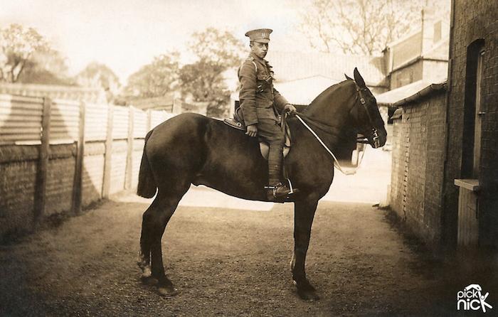 Pte Ernest Dewey on horse - after photo restoration by Pick Nick
