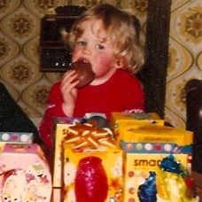 boy eating easter eggs 1980s