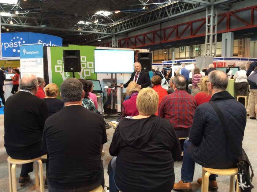 FamilySearch giving talks on search at their stand.