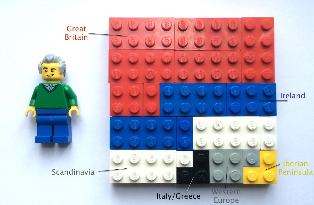 My Father's AncestryDNA Ethnicity result in Lego