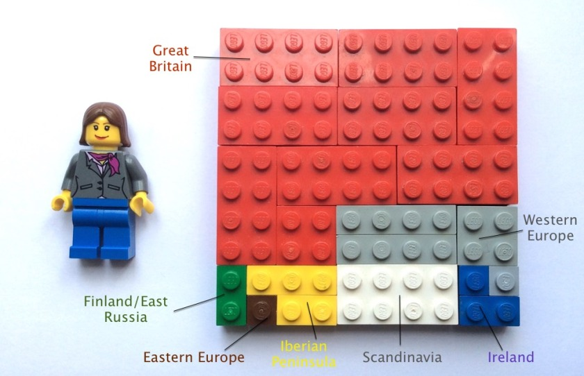 Mother's AncestryDNA Ethnicity Result in Lego