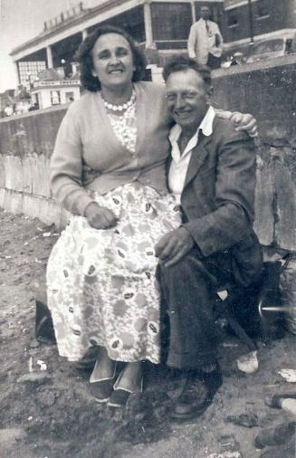 Edna and Percy, my grandparents in happier times. Probably Hunstanton during the 1950s.