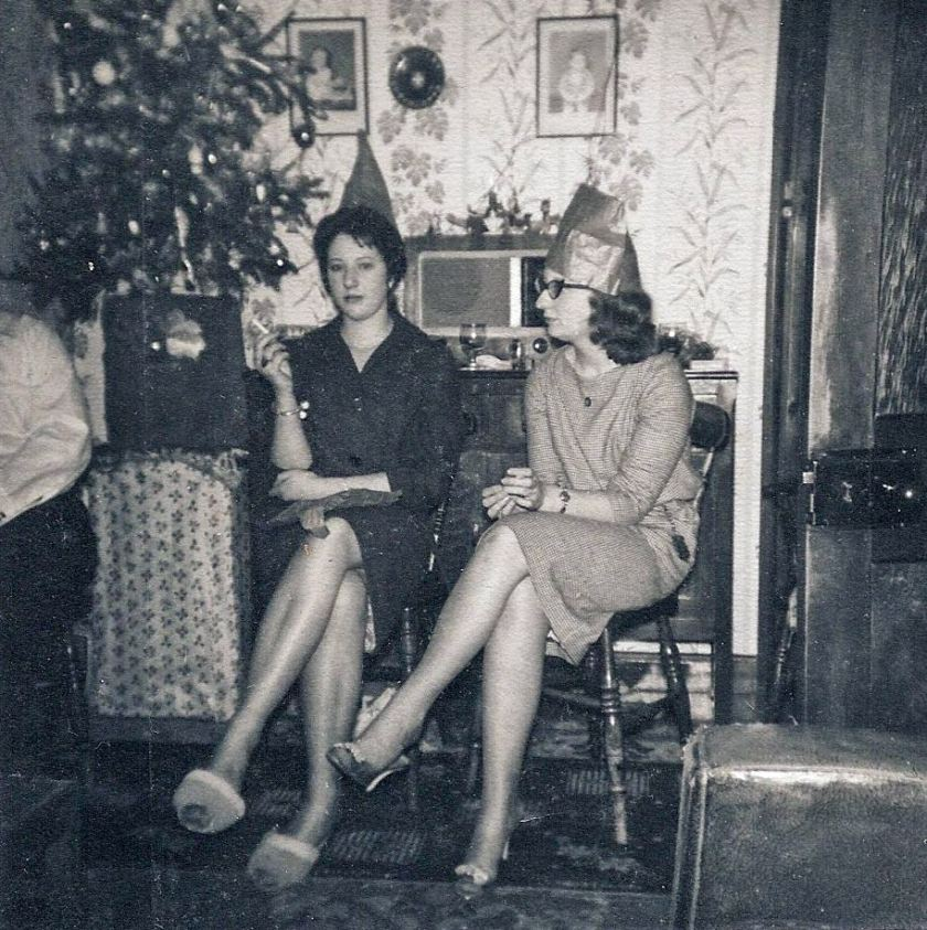 My aunt Beryl (seated right) wearing a somewhat bag-like Christmas hat. Photo: Andrew Martin.