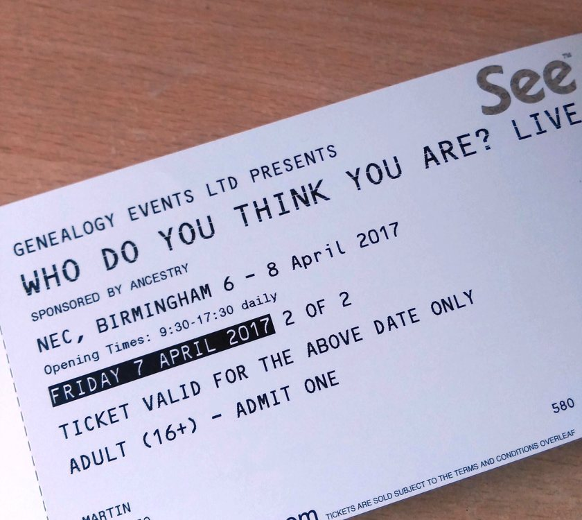 One of my two Who Do You Think You Are? Live 2017 tickets.