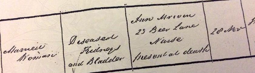 Married Woman, Diseased kidneys and bladder, Ann [illegible] 23 Beer Lane, Nurse, Present at death, 28th Nov.