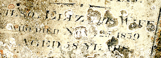 Close-up of Elizabeth Yarrow's headstone inscription.
