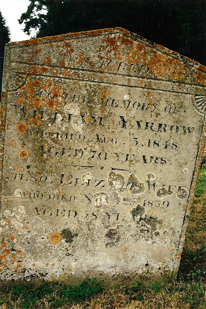 The headstone of William and Elizabeth Yarrow at Stretham.