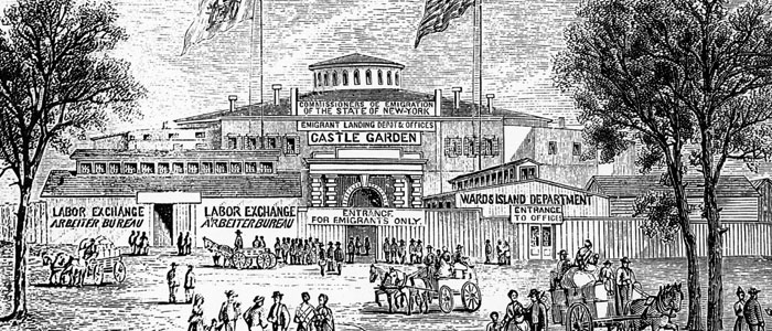 Castle Garden Immigration Centre in New York, circa 1880.