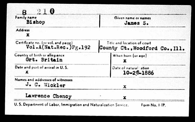 James S. Bishop naturalization card for Woodford County, Illinois, USA.