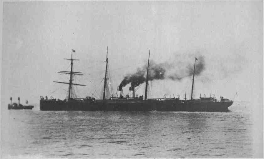 The steamship SS Spain - regularly sailed from Liverpool to New York until it was scrapped in 1896.