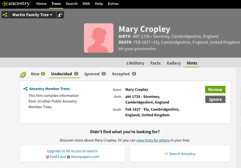 The hints for Mary Cropley in Ancestry.co.uk