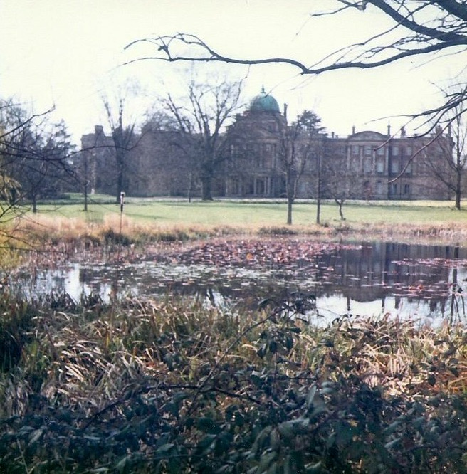 Elveden Hall and pond in 1980s.