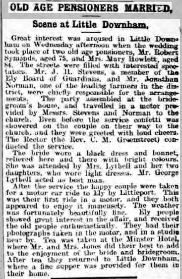 Newspaper report of the marriage of Robert Symonds and Mary Howlett Bonnett, 1914.