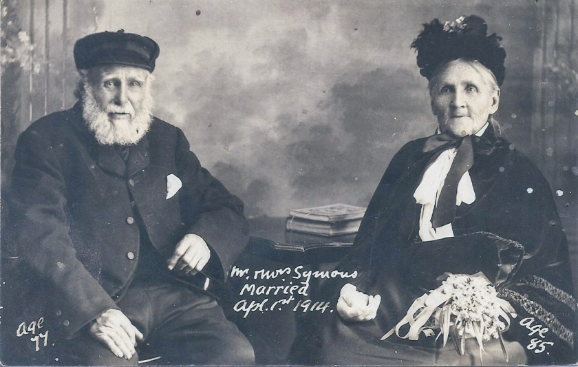 Elderly couple Mr Robert Symonds and Mrs Mary Howlett on their wedding day in 1914.