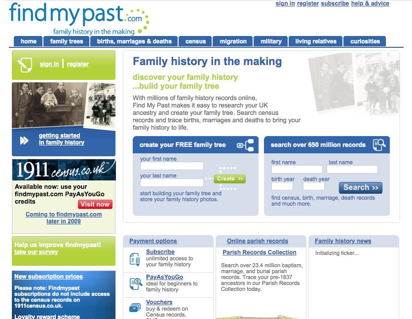 FindMyPast homepage 2009